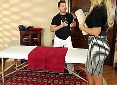 Senator Olivia Austin fucked by the masseuse