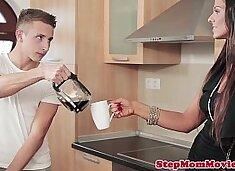 Euro MILF cum sharing with step daughter