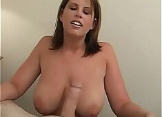 Hot milf with really big natural boobs gets anal and swallow the cum