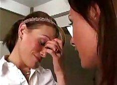 Gorgeous Brunette Seduces Shy Woman Into First Time Lesbian Sex