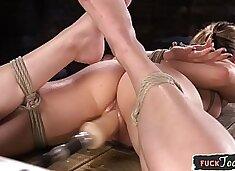 BDSM machine babe gets throatfucked