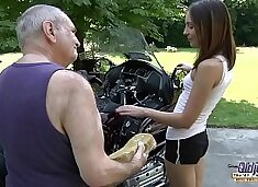 OLD YOUNG PORN - Grandpa Fucks Teen Hardcore blowjob young girl pussy