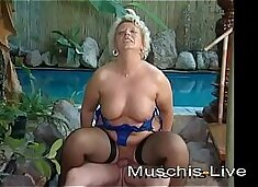 Blonde granny fucked in the gym