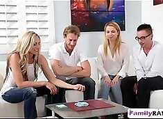 Weird family played poker stripping ends up fucking foursome