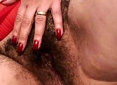 Hairy granny takes a pounding