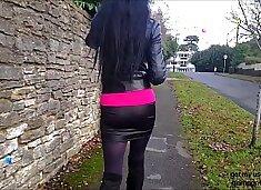 Spying on Hot Brunette Angie in Miniskirt, Long Legs, Big Boob Flashing, Upskirt