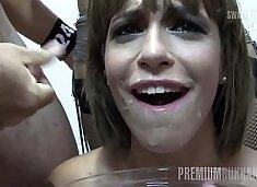 Premium Bukkake - Silvana swallows 65 huge mouthful cumshots