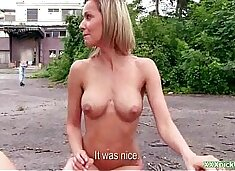 Shy Czech girl is convinced the flash & fuck in public for cash 08