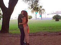 Lena gets hot and asks for good sex in the park